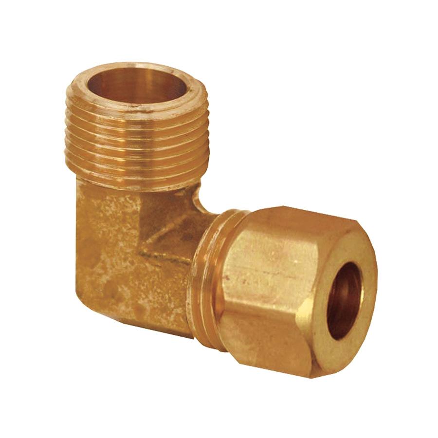 "Brass Male Elbow 3/8"" MIP x 1/2"" Compression"