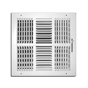 "4-Way White Sidewall/Ceiling Register 12"" x 12"""