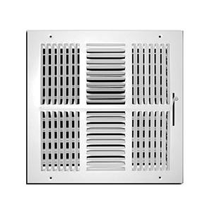 "4-Way White Sidewall/Ceiling Register 12"" x 12"""