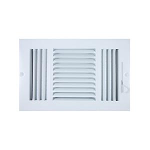 "Sidewall/Ceiling Register — Three Way White 10"" x 6"""