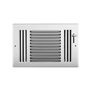 "Sidewall/Ceiling Register — Three Way White 12"" x 6"""
