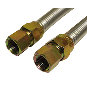 "Stainless Steel Flexible Gas Line 1/2"" FIP X 3/4"" FIP x 36"""