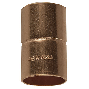 """Copper Coupling with Stop 7/8"""" O.D. (3/4"""" I.D.)"""