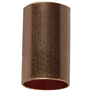"""Copper Coupling without Stop 1/2"""" O.D. (3/8"""" I.D.)"""