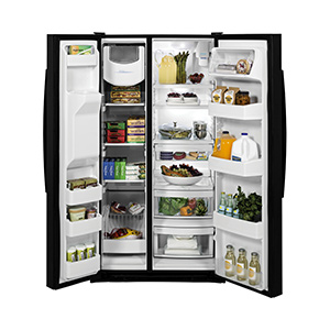 GE Black 25.3 Cu Ft Side-by-Side Refrigerator