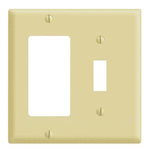 Leviton 2-Gang Combo GFI/Switch Wall Plate Ivory