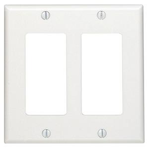 Leviton 2-Gang Deco Plate White