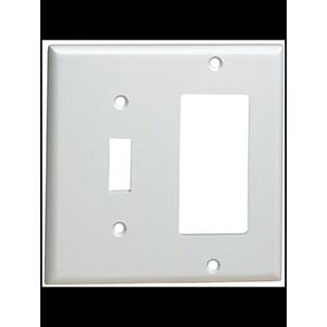 Leviton 2-Gang Combo GFI/Switch Wall Plate White
