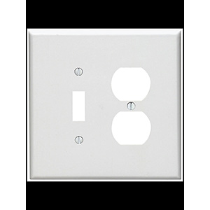 Leviton 2-Gang Combo Wall Plate White
