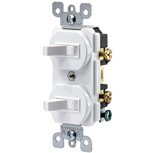Leviton Double Toggle Switch — 15 Amp White