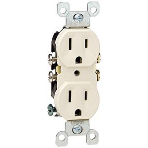 Leviton Duplex CO/ALR Receptacle — 15 Amp White