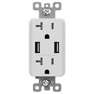 USI USB Charger & Duplex Receptacle 20 Amp White