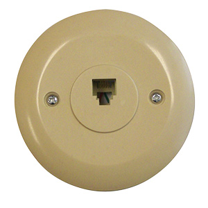 Black Point Round Phone Jack Wall Plate Ivory