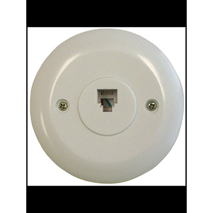 Black Point Round Phone Jack Wall Plate White