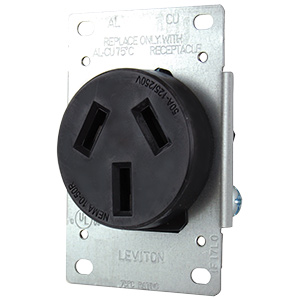 Leviton Range Receptacle 3-Wire Flush Wall Mount