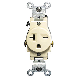 Leviton Single Receptacle — 20 Amp Ivory