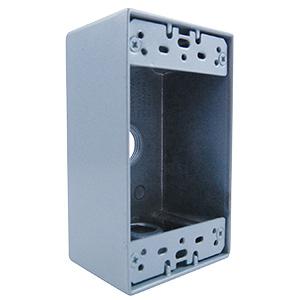 """Hubbell 1-Gang Weatherproof Box 1/2"""" Knockouts"""