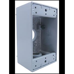 """Hubbell 1-Gang Weatherproof Box 3/4"""" Knockouts"""