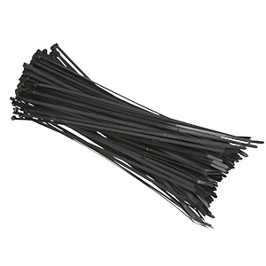 "11"" Black Nylon Cable Ties 100/Pk"