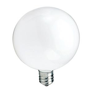 G16-1/2 Globe Incandescent Bulb 40W White Candelabra Base