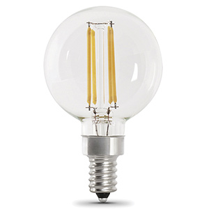 G16-1/2 Filament LED Bulb Replaces 40W 2700K Candelabra Base