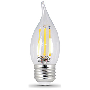 Feit Flame Tip Filament LED Bulb Replaces 40W 2700K Dimmable