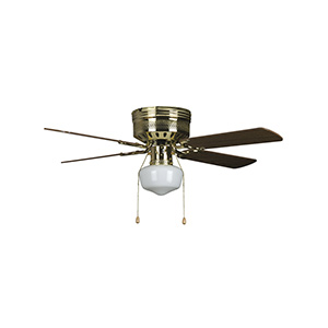 "42"" 4-Blade Hugger Fan with Schoolhouse Light Polished Brass"