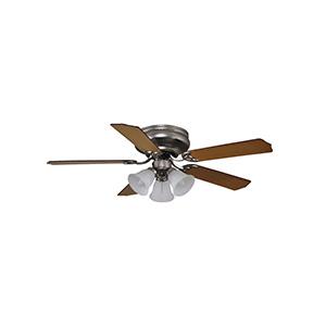 """42"""" 5-Blade Hugger Fan with Light Kit Satin Nickel"""