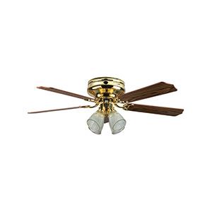 "52"" 5-Blade Hugger Fan with Light Kit Polished Brass"