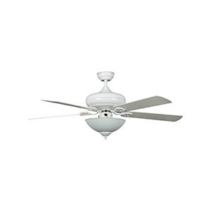 "52"" 5-Blade Downrod Mount Fan with Light Kit White"