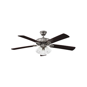 "52"" 5-Blade Dual Mount Fan with Light Kit Stainless Steel"
