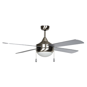 "52"" 4-Blade Downrod Mount Fan with LED Light Stainless Steel"