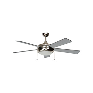 "52"" 5-Blade Downrod Mount Fan with Light Kit Stainless Steel"