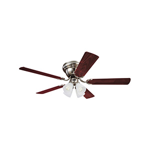 "52"" 5-Blade Hugger Ceiling Fan with Light Kit Brushed Nickel"