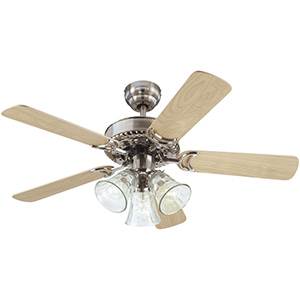 """42"""" 5-Blade Dual Mount with LED Light Brushed Nickel"""