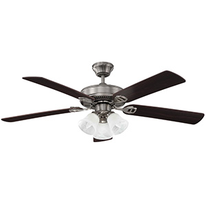 "52"" 5-Blade Dual Mount Fan with LED Light Kit Stainless Steel"