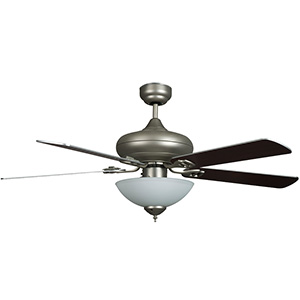 "52"" 5-Blade Downrod Mount Fan with LED Light Kit Satin Nickel"
