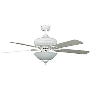 "52"" 5-Blade Downrod Mount Fan with LED Light Kit White"