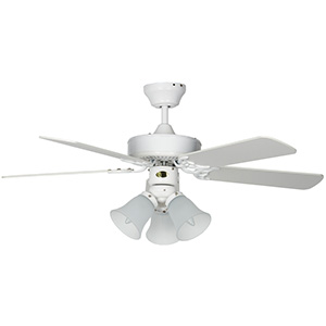 "42"" 5-Blade Dual Mount Fan with LED Light Kit White"