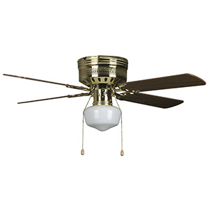 "42"" 4-Blade Hugger Fan with LED Schoolhouse Light Polished Brass"