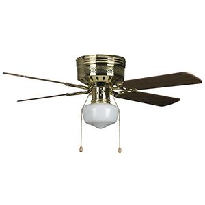 "42"" 4-Blade Hugger Fan with LED Schoolhouse Light Polished Brass"