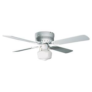 """42"""" 4-Blade Hugger Fan with LED Schoolhouse Light White"""