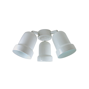3-Arm Metal Bullet Fan Light Kit White