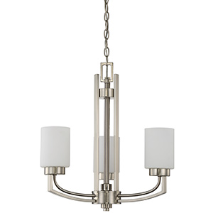 3-Arm Chandelier Satin Nickel