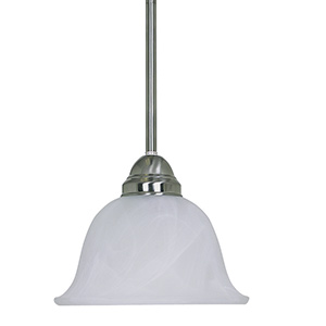 1-Light Stem Pendant Fixture Satin Nickel