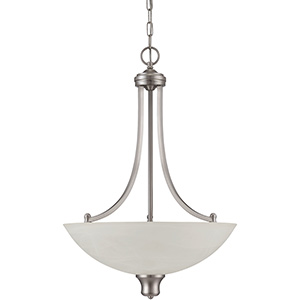 3-Light Bowl Pendant Fixture Satin Nickel