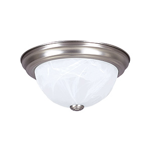 "11"" Ceiling Dome Fixture 2-Bulb Satin Nickel"