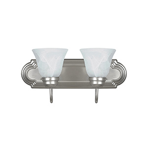 "18"" 2-Light Satin Nickel Tiered Vanity Fixture"
