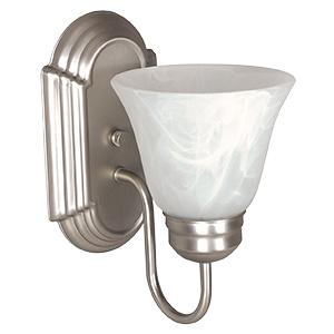 Round Milk Glass 1-Light Wall Fixture Satin Nickel