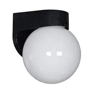 Black Polycarbonate Globe Wall Fixture